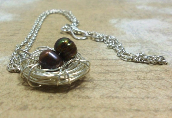 Bird Nest Necklace Freshwater Brown Potato Pearls, Silver Chain,  Everyday Jewelry