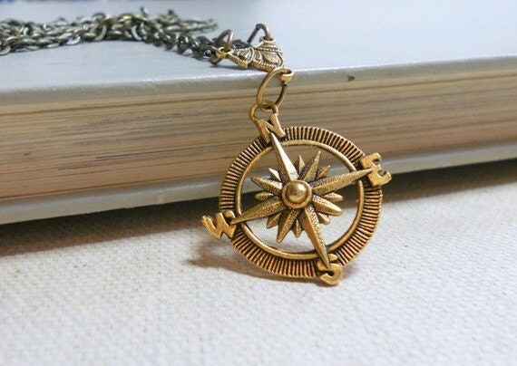 Necklace with Pendant, Brass Compass and Chain, Long Necklace, Everyday Jewelry
