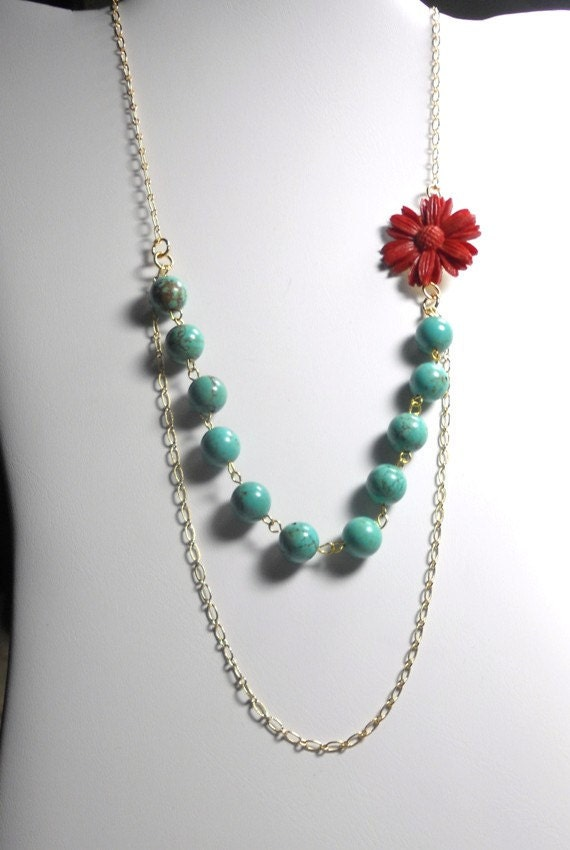 Statement Necklace, Turquoise Howlite and Resin Flower Necklace