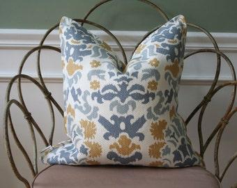 SALE- Decorative Pillow Cover-20 x 20 - Beacon Hill- Blue- Gold-Cream