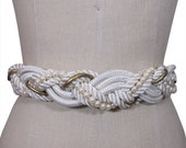 Vintage 70s White and Gold with Pearls Braided Rope Belt