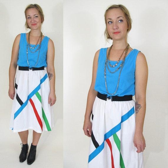 Vintage Modern Color Block Dress, Medium / Large