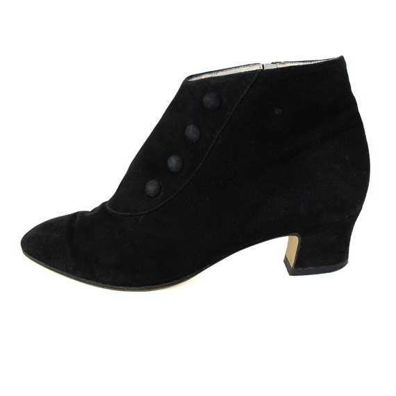 Vintage Black Suede Booties, Size 6