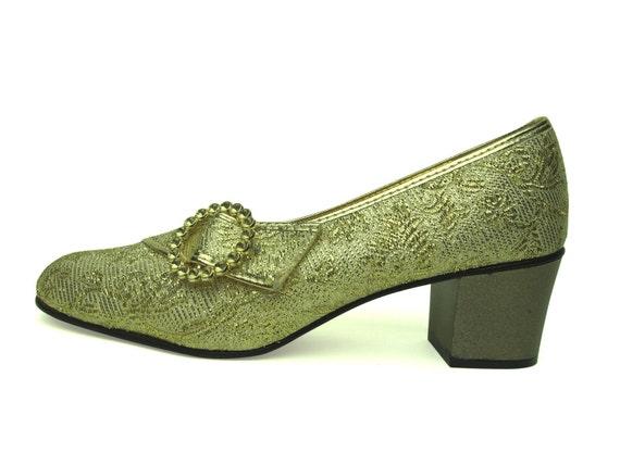 Vintage Gold 50s Embroidered Heels, Size 5