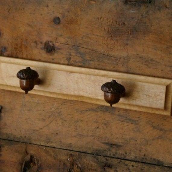 Autumn Acorn Towel Rack - Rustic Acorn Hooks - Woodland Acorn Wall Hooks - Wood Robe Hooks