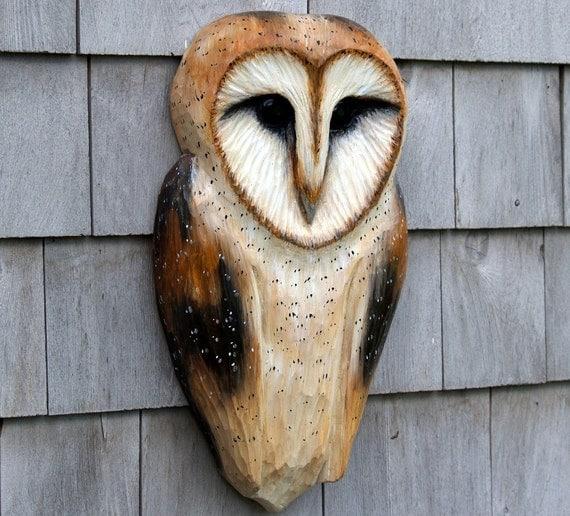 Woodland Barn Owl, carved rustic folk art