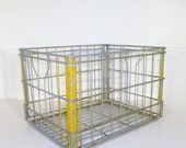 Vintage Industrial Wire Milk Crate