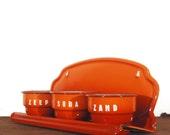 Wall Caddy, Dutch, European, Flame Orange, Enamel, Laundry Set.