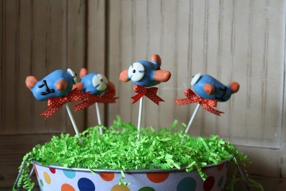 Mom's Killer Cakes & Cookies Original Design Airplane Air Plane Cake Pops Customize With Your Color and Monogram