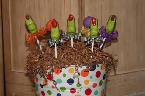 Mom's Killer Cakes & Cookies Original Halloween Creepy Witch Finger Cake Pops First On Etsy Other Halloween Styles Available
