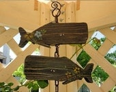 Whales in Love Couple of Wooden Fish Handmade