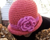 """Crochet Cloche Hat with attached Cabbage Rose Adult small/medium """"Lily"""""""