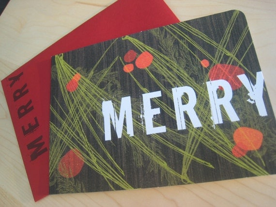 Modern Woodgrain and Holly Berries Holiday Cards, Set of 8 recycled Notes and Envelopes