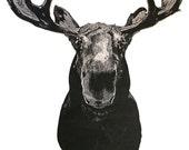 Papa Kenny's Moose Woodcut Sculpture Print