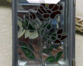 Stained Glass Box with Rose Pattern Baked on Lid