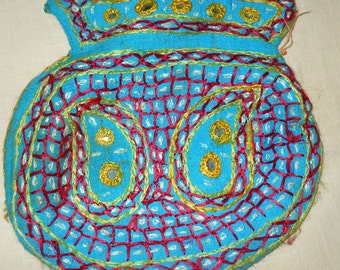 Turquoise Drawstring Bag with Hand Sewn Decorations