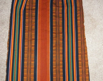 Orange, Black, Green, and Red Striped Skirt with Elastic Waistband