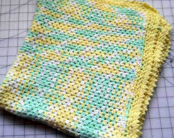 Unused Green and Yellow Varigated Yarn Baby Afghan