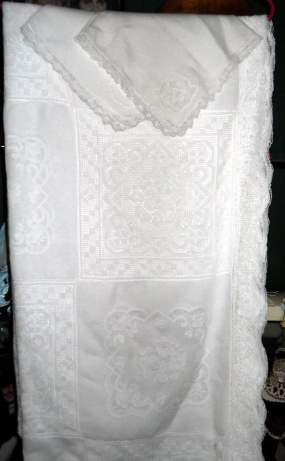 FREE SHIPPING: Stunningly Beautiful Vintage White Table Cloth with Squares of White Crocheted Lace and Squares of Embroidery and Cutouts
