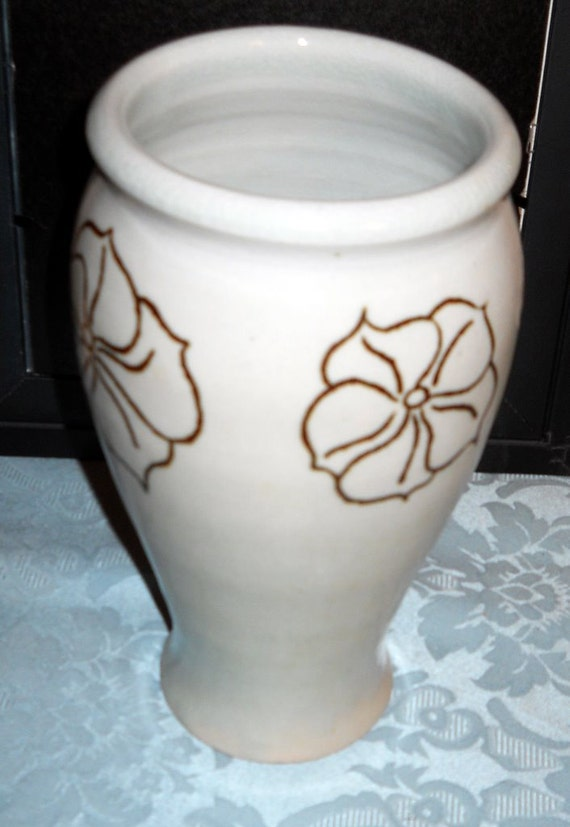 Vintage White with Gold Flowers Vase by Kevin Milner