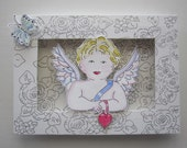 Valentine Shadow Box, Angel, Cabbage Roses Ornament, Watercolors, Pen and Ink