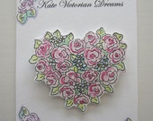 Magnet, Cottage Garden, Roses, Heart, Flowers, Love, Romance,  Cottage Chic, Decoration, original illustration, Watercolors, Pen and Ink
