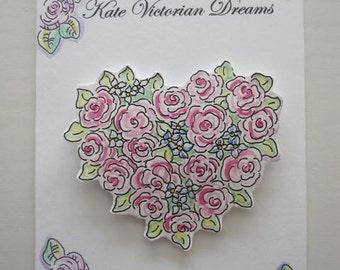 Magnet, Cottage Garden, Roses, Heart, Flowers, Love, Romance,  Cottage Chic, Decoration, original illustration, Watercolors, Pen and Ink