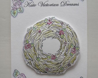 Magnet, Flower Wreath, Sweet, Straw, Tiny Roses, Flowers, Summer, Cottage Chic, Beach, Art, Original illustration, Watercolors, Pen and Ink