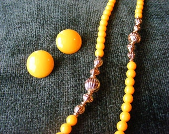 On Sale Bright Yellow endless necklace with matching clip earrings