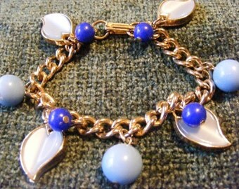 On Sale Adorable vintage blue leaf charm bracelet