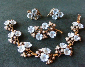 Blue Flower Demi Set with Rhinestones and Seed Pearls