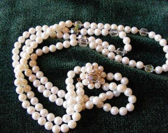 Double Strand of Faux pearls and Austrian Crystals Perfect for Wedding