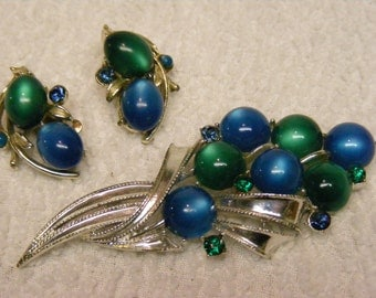 On Sale Coro Earrings and Brooch set 1970's blue and green balloons