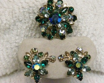 Dramatic Brooch and Clip Earring set 1960's Aurora Borealis