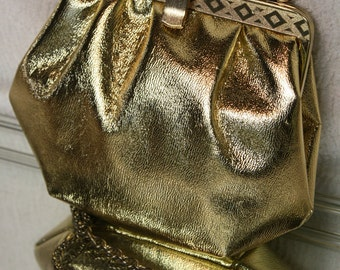 Gold Lamé Formal Evening Bag, Clutch, Purse