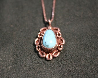 Turquoise Teardrop Necklace Set in Sterling Silver