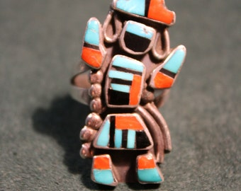 Large Kachina Dancer Inlay Ring size 8.5