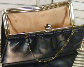Navy Blue Midnight Blue Leather Clutch Purse
