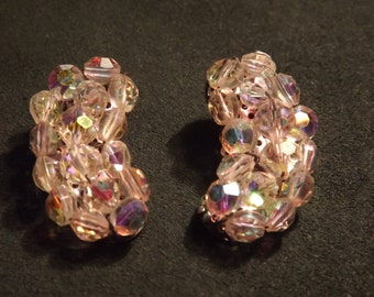 1950's Aurora Borealis Crystal Bead Clip on Earrings