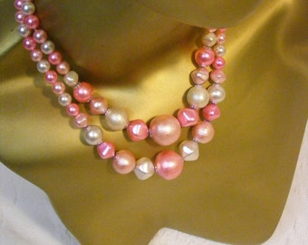 Pretty in Pink Double Strand Necklace, Made in Japan