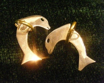 On Sale Silver Dolphin Earrings, Dolphins Jumping Through Hoops, Two Tone