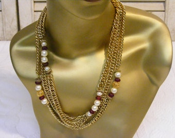 Asymmetrical Chain and Beaded Necklace, Pearl and Garnet Accents