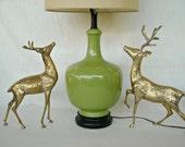 Vintage Vase Lamp Ceramic Hollywood Regency Chartreuse Green Mid Century
