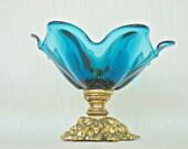 Mid Century Art Glass Pedestal Peacock Blue Teal Bowl Metal Base