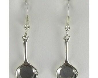 Frying Pan Earrings - 925 Sterling Silver