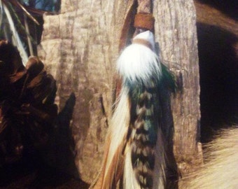 Bunny Fur with Rooster & Peacock Plumage, Handbraided Buckskin, Flowing Leather Fringes  Single Earring
