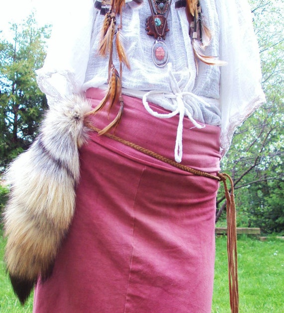 Natural Coyote Tail on Buckskin Braid : For Ceremony & Coyote Medicine