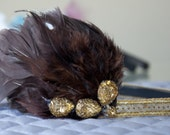 Gold/Brown Sequin Feather Headband