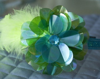 Aqua Blue Flower Headband - Blue, Green Flower HeadBand w/ Yellow Feathers