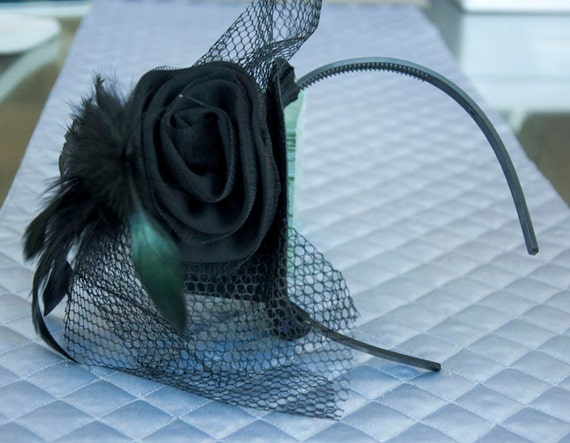 Black Rose Mini Top hat with black netting and feathers